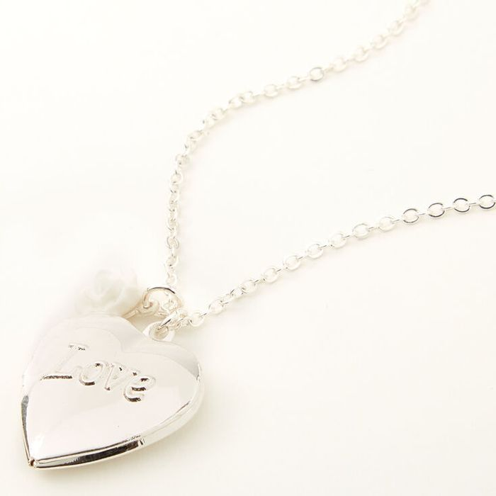 Claire's Club Silver Love Locket Necklace