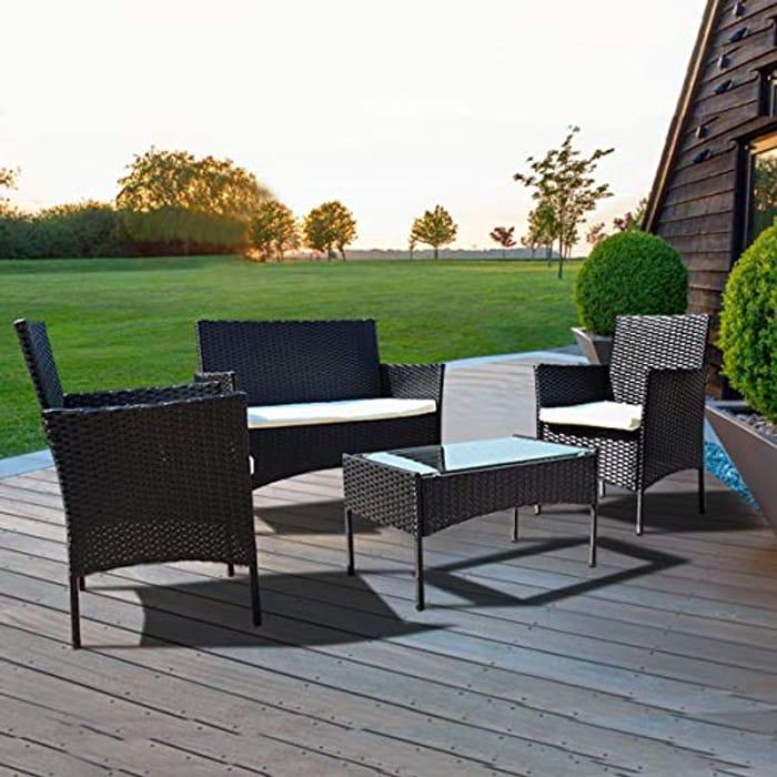 LIGHTNING DEAL - Bigzzia Rattan Garden Furniture Set, 4 PCS