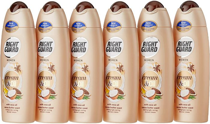 Right Guard Women Shower Cream Gel, Coco Oil with Cacao Butter - Pack of 6