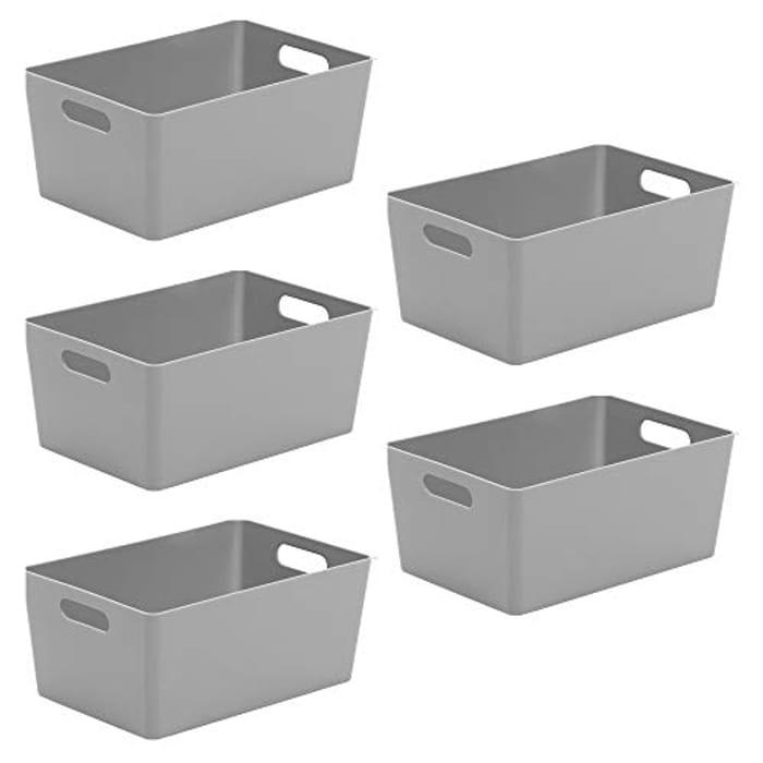 Wham Bam 4.02 Cool Grey Plastic Studio Storage Baskets, 5 Baskets - Only £9.39!