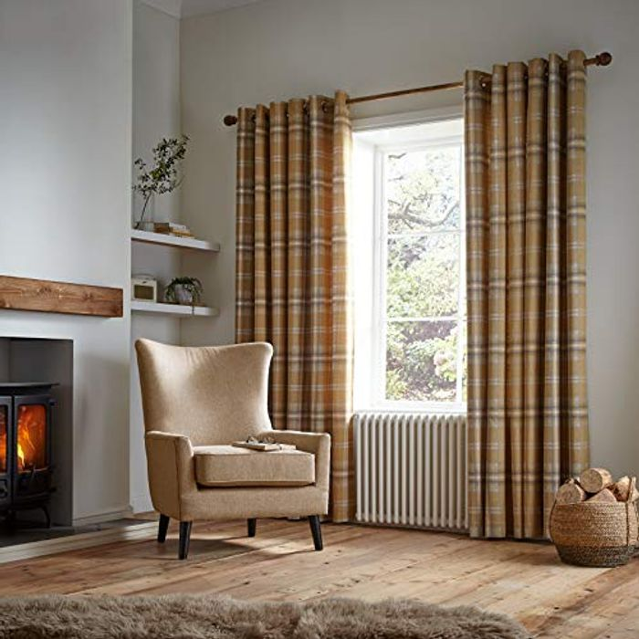 Catherine Lansfield Thermal Woven Check Eyelet Curtains - Now £13.63!