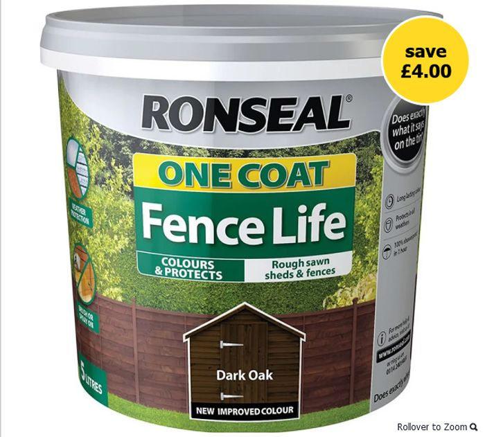 1/2 Price - Ronseal One Coat Fence Life Exterior Wood Paint 5L
