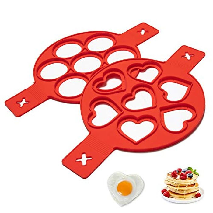 HONGTEYA Silicone Heat Resistant Pancake Mould 2pcs (Heart Round) - Only £1.99!