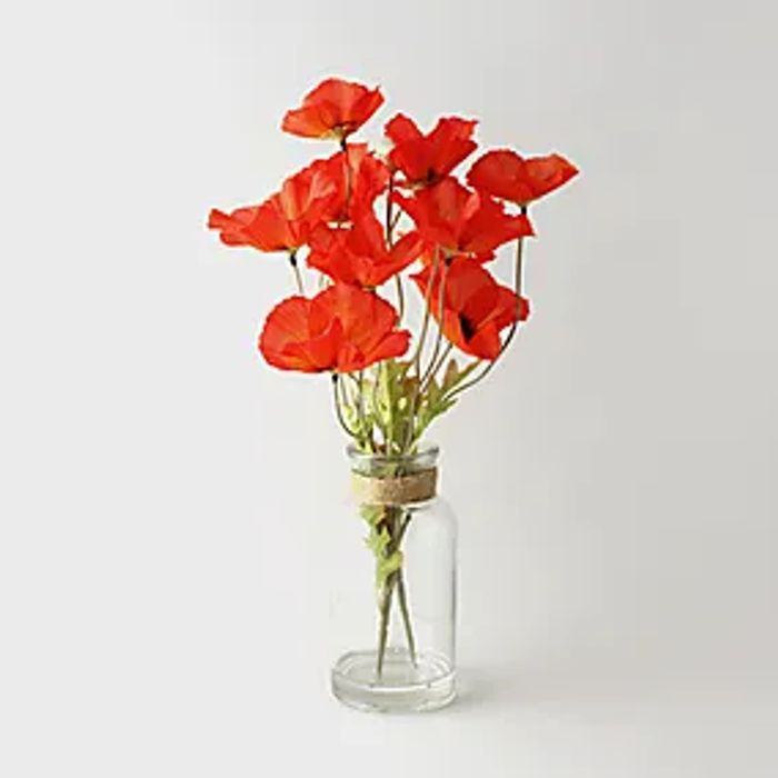 Artificial Poppies Orange in Glass Vase 40cm Click & Collect after 3 Hours