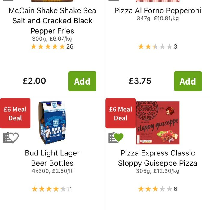 £6 Meal Deal 2 Pizza 1 Side 1 Drink (Including Beer)