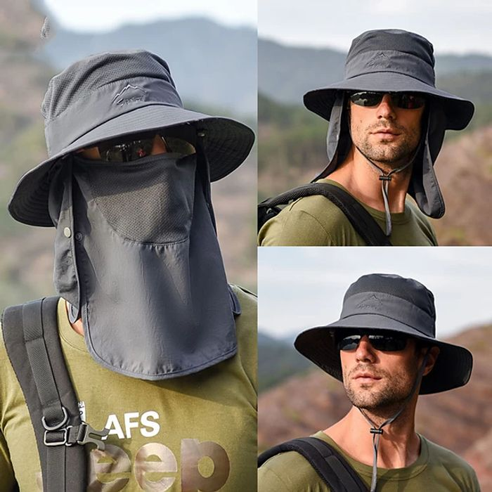 Adults' Wide Brim Sun Hat Bucket Hat with Neck Face Flap Cover