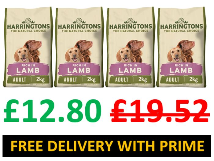 SAVE £6.72 - Harringtons Complete Lamb & Rice Dry Dog Food 2 Kg, Pack of 4