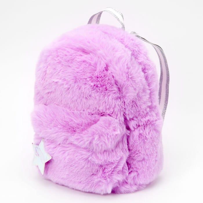 Neon Furry Medium Backpack - Purple