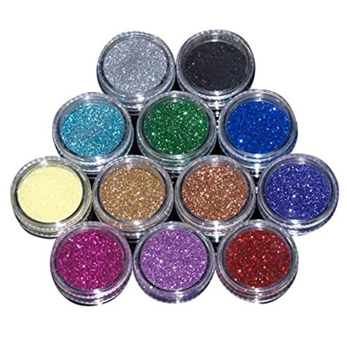 EZI 12 Mix Color Nail Acrylic Glitter Powder Dust Decoration Tool - Only £2.49!