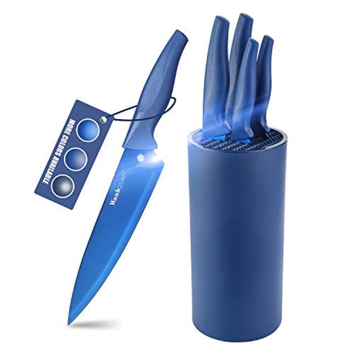 DEAL STACK - Wanbasion Professional Blue Kitchen Knives Block Set + 10% Coupon