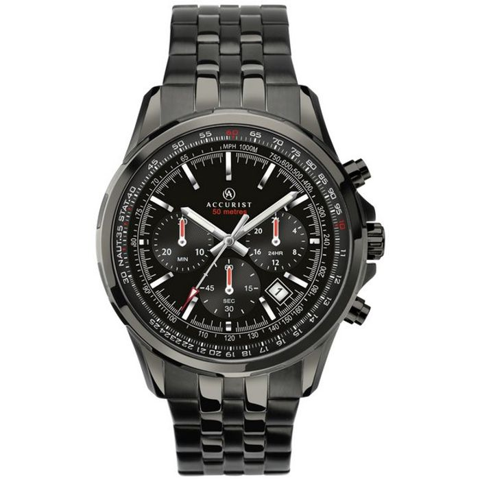 Accurist Men's Black Stainless Steel Bracelet Watch - Only £48.99!