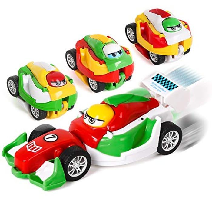 Shayson Transformer Car,4 Pack 2 in 1 Transforming Angry Bird Car Toys