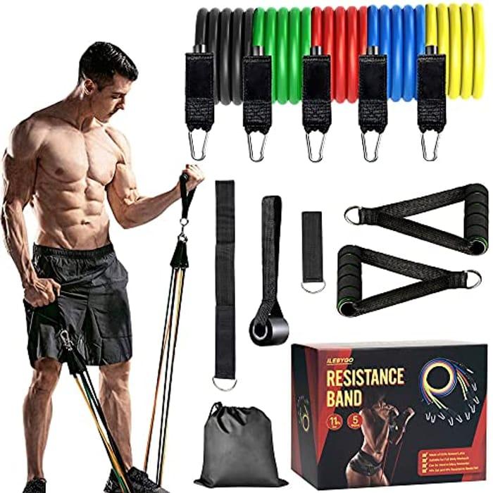 ILEBYGO 11pcs Exercise Resistance Band Set