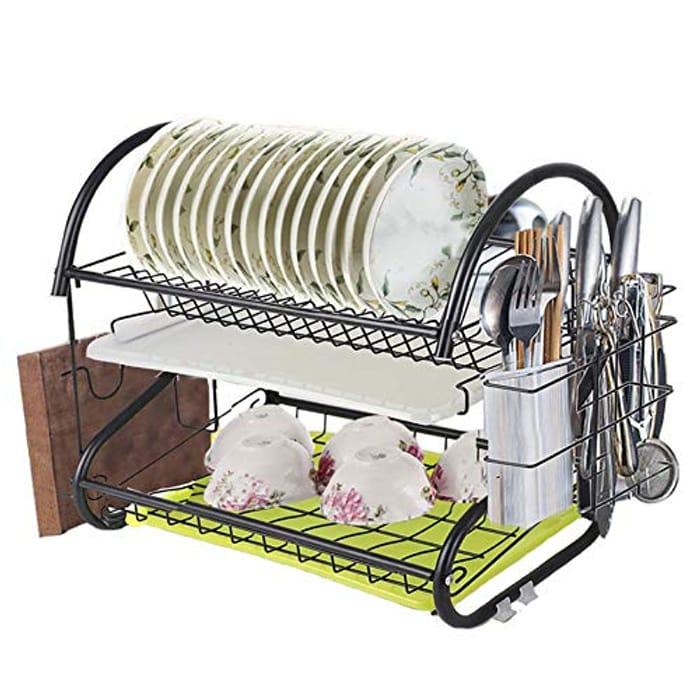 50% Voucher- Newox 2 Tier Dish Drying Rack with Utensil Holder