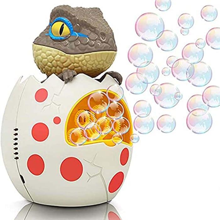 XUANRUI Automatic Dinosaur Bubble Maker Machine LED Lights & Music - Only £6.99!