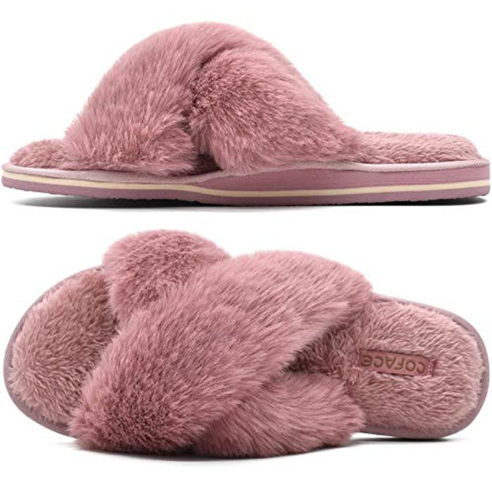 COFACE Womens Comfy Cosy Fuzzy Open Toe Fluffy Faux Fur Slippers - Only £6.99!