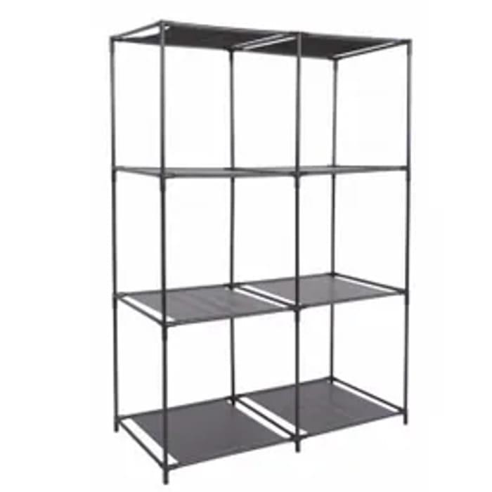 6 Unit Shelf in Black 68.5x34.5xH104cm