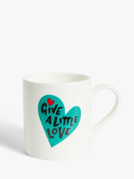 Give a Little Love Mug, 300ml, White/Teal