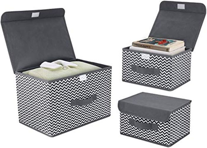 DIMJ 3 Pack Fabric Foldable Storage Boxes with Lids