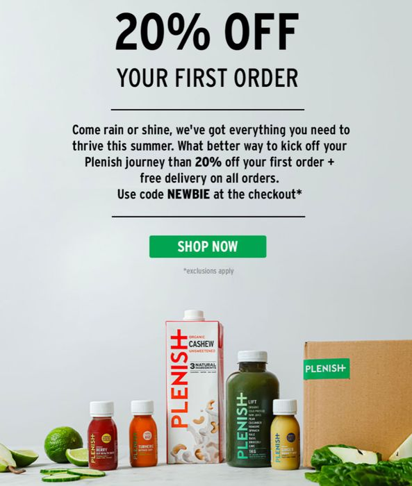 Get 20% off Your First Order of Drinks