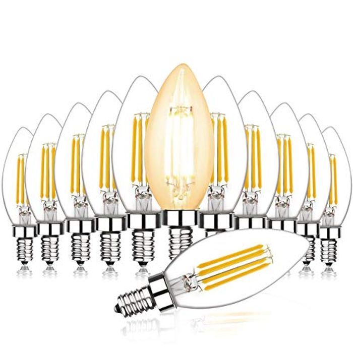 Svater 12 Pack LED Filament Candle Bulb E14, 4W C35 Small Edison Screw