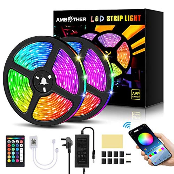 AMBOTHER 10m LED App Control Strip Lights with Music Sync + Remote