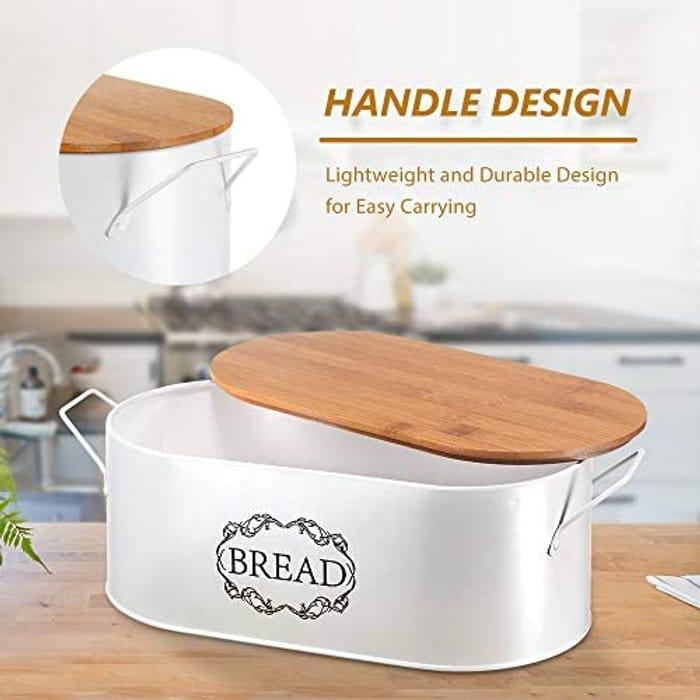 Coralov Bread Bin with Cutting Board 40 X 18 X 12cm