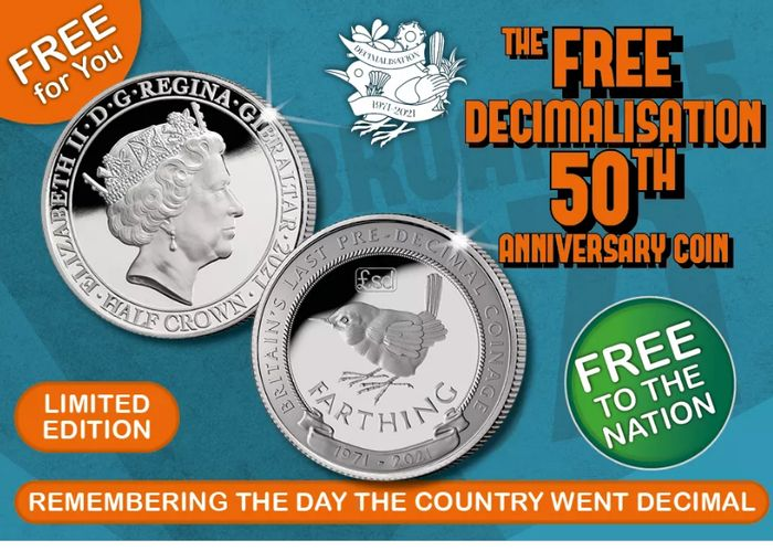 FREE Decimalisation 50th Anniversary Coin (Just £2.50 Postage)