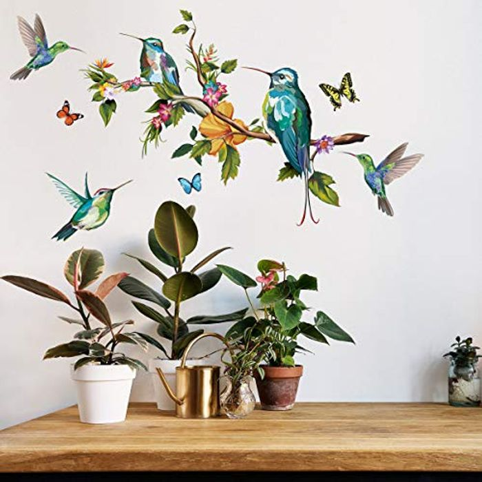 DIY Flower and Hummingbirds Wall Decal