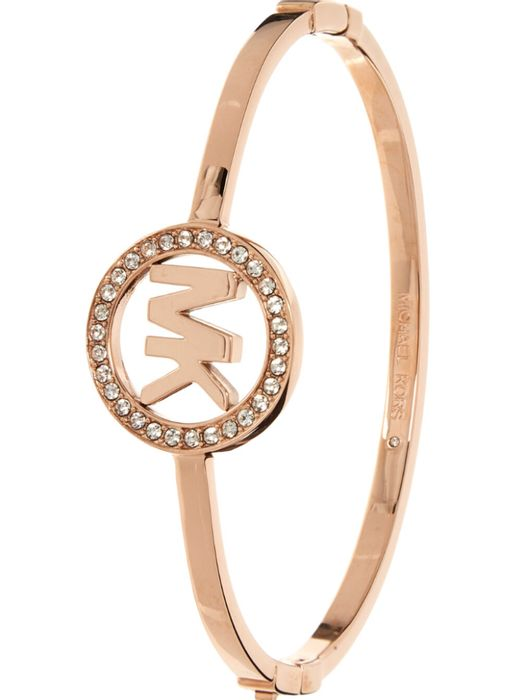 MICHAEL KORS Rose Gold Tone Crystal Circle Bangle
