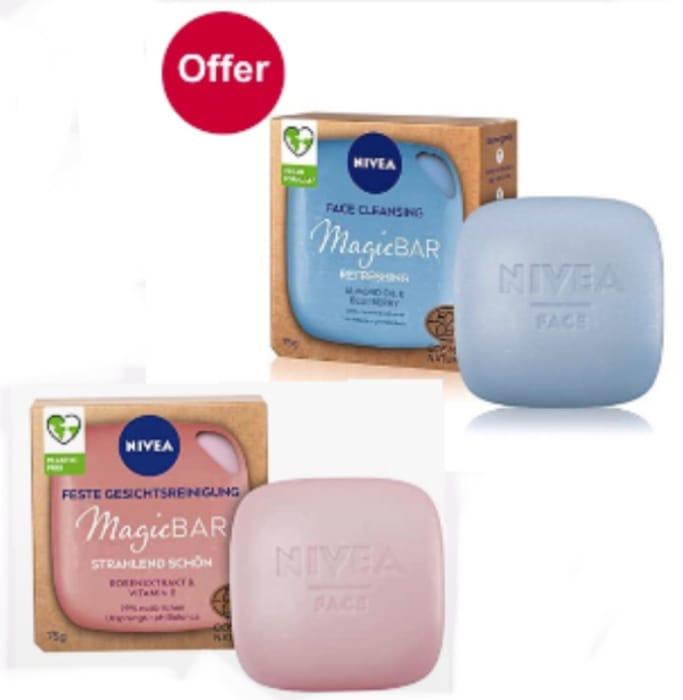 NIVEA MagicBAR Radiance & Refreshing Vegan Face Cleansing Bar 75g Each £4.49