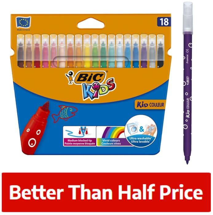Best Price! BIC Kids Ultra Washable - Felt Tip Pens - Pack of 18