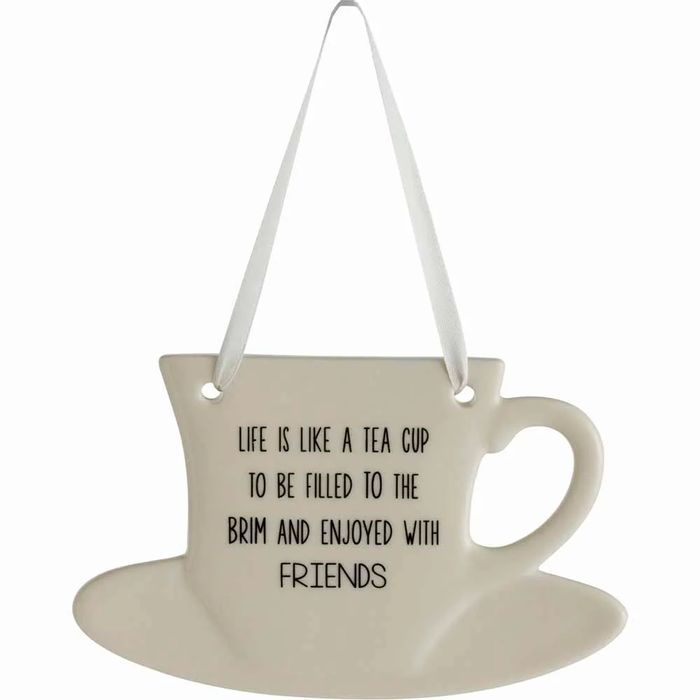 1/2 Price - Wilko Hang Ceramic Plaque Tea Cup Friends