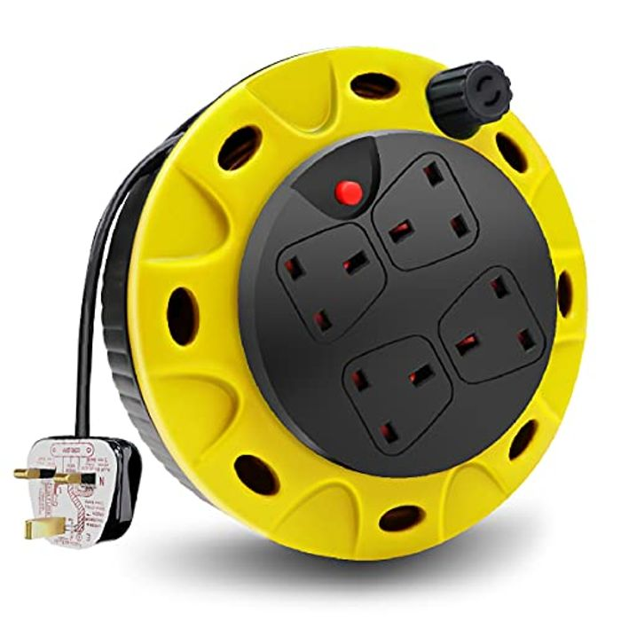 ExtraStar 4 Sockets Cable Reel Extension Lead with Winding Handle - Only £8.99!