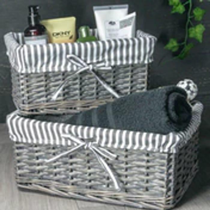 M&W Grey Wicker Baskets Set of 3