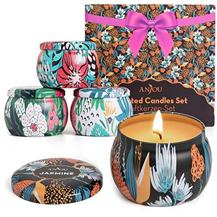 Anjou Scented Candles Gift Set 4pcs, Soy Wax, 4 Fragrances