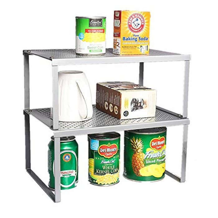 2-Pack Kitchen Bathroom Cabinet and Counter Shelf Organizer