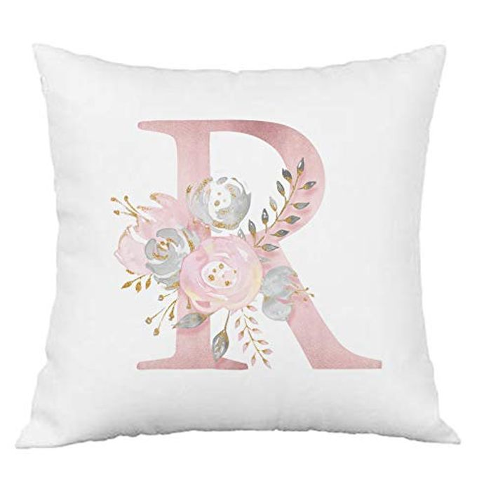 Pink Flowers Alphabet Letter Cushion Cover