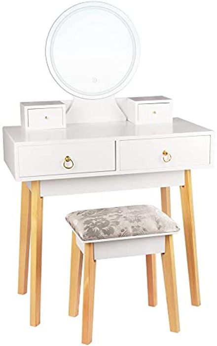 Bigzzia Dressing Table with Mirror LED Light Adjustanble - Only £56.99!