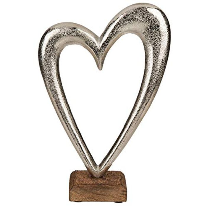 Metal Heart on Sleeper Wood Base, Silver, 22cm