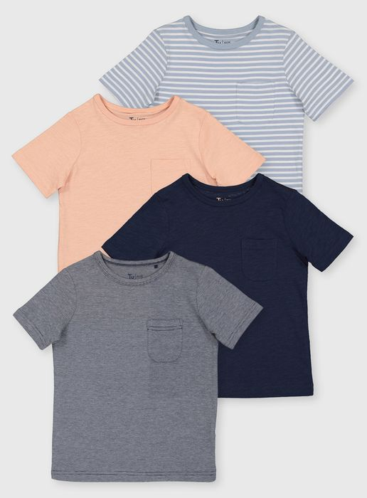Stripe & Plain T-Shirts 4 Pack