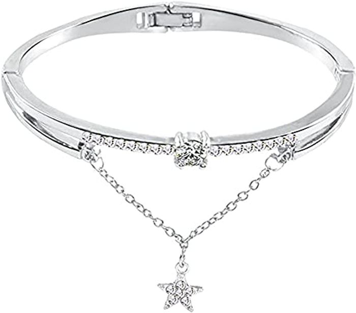 Acrylic Colored Star Pattern Heart Crystal Love Opening Bracelet - Only £2.99!