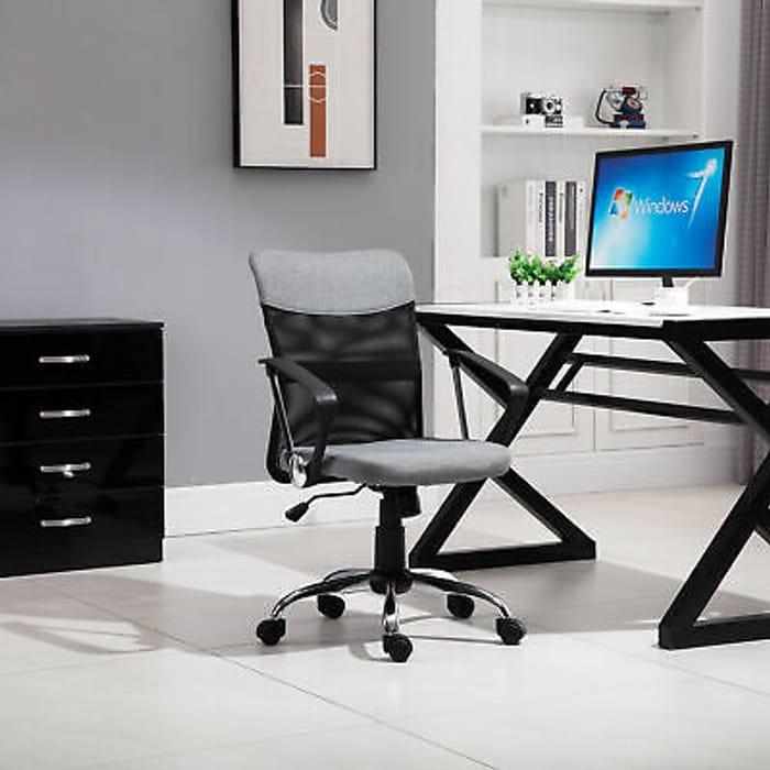 Office Chair Linen Mesh Fabric Swivel Computer Desk - Only £29.99!