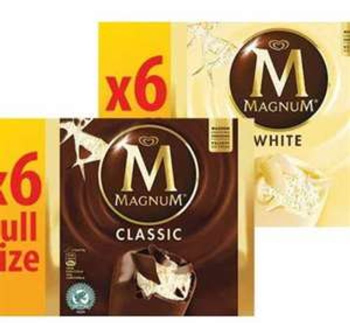 6pk Magnum Classic / White - Any Two for £4 at farmfoods