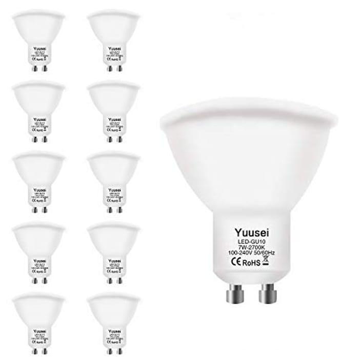 10 Pack 7W GU10 LED Bulbs, 2700K Warm White