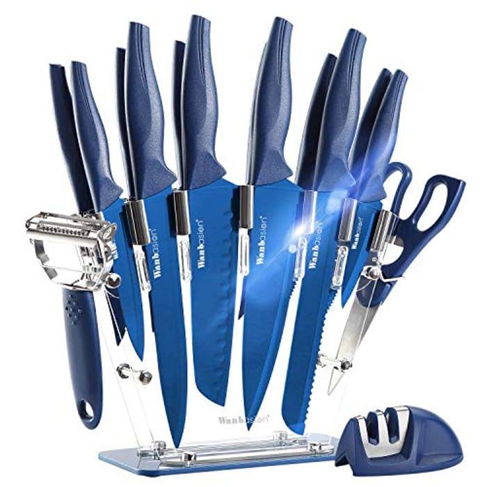 16 Pieces Blue Kitchen Knife Set Dishwasher Safe - Only £18.40!