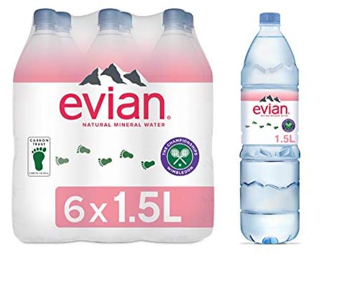 Evian Still Natural Mineral Water, 6x1.5L