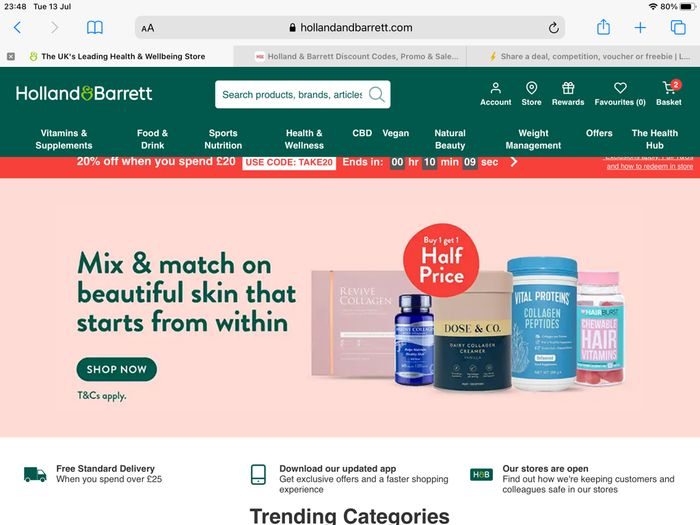 Holland and Barrett 25% off Voucher Code and Free Postage
