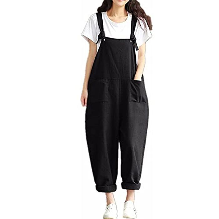 DEAL STACK - Women Floral Print Dungarees Fashion Casual Jumpsuit + 5% Coupon