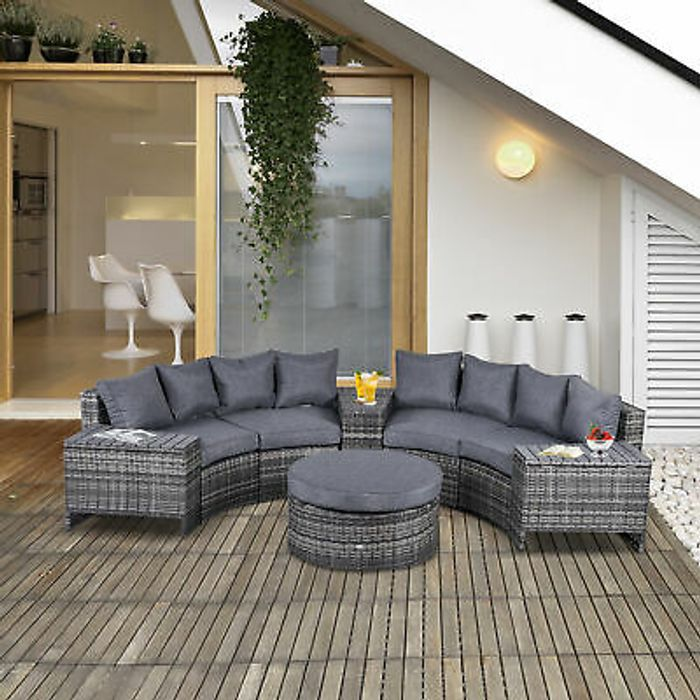 8 PCs Patio Rattan Conversation Furniture Set with Side Table & Cushioned